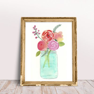 Watercolor Flowers Free Art Printable for Spring