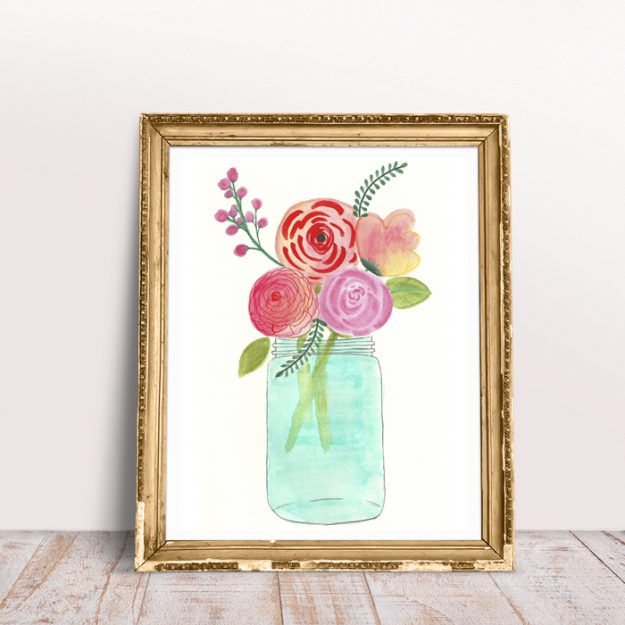 free watercolor flowers printable - flowers in mason jar.