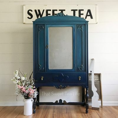DIY Rustic Glam Paint Finish on a Linen Cabinet Makeover