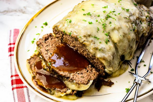 Mushroom Swiss Meatloaf - a familiar new spin on a classic!