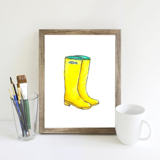 free rainboots watercolor prints