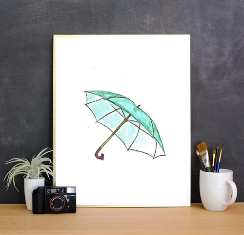 FREE WATERCOLOR PRINT OF THE MONTH: Rainy Days Collection