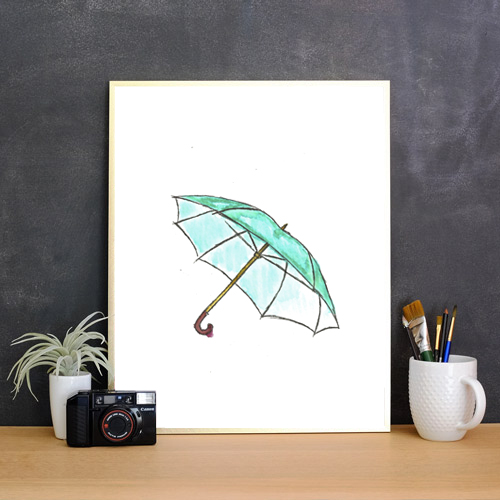 Free watercolor prints - blue umbrella - SO CUTE!