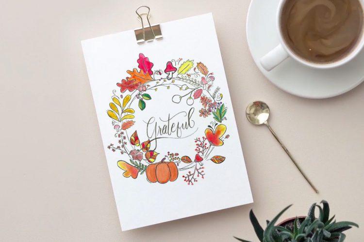 Watercolor Wreath Free Watercolor Print for Fall