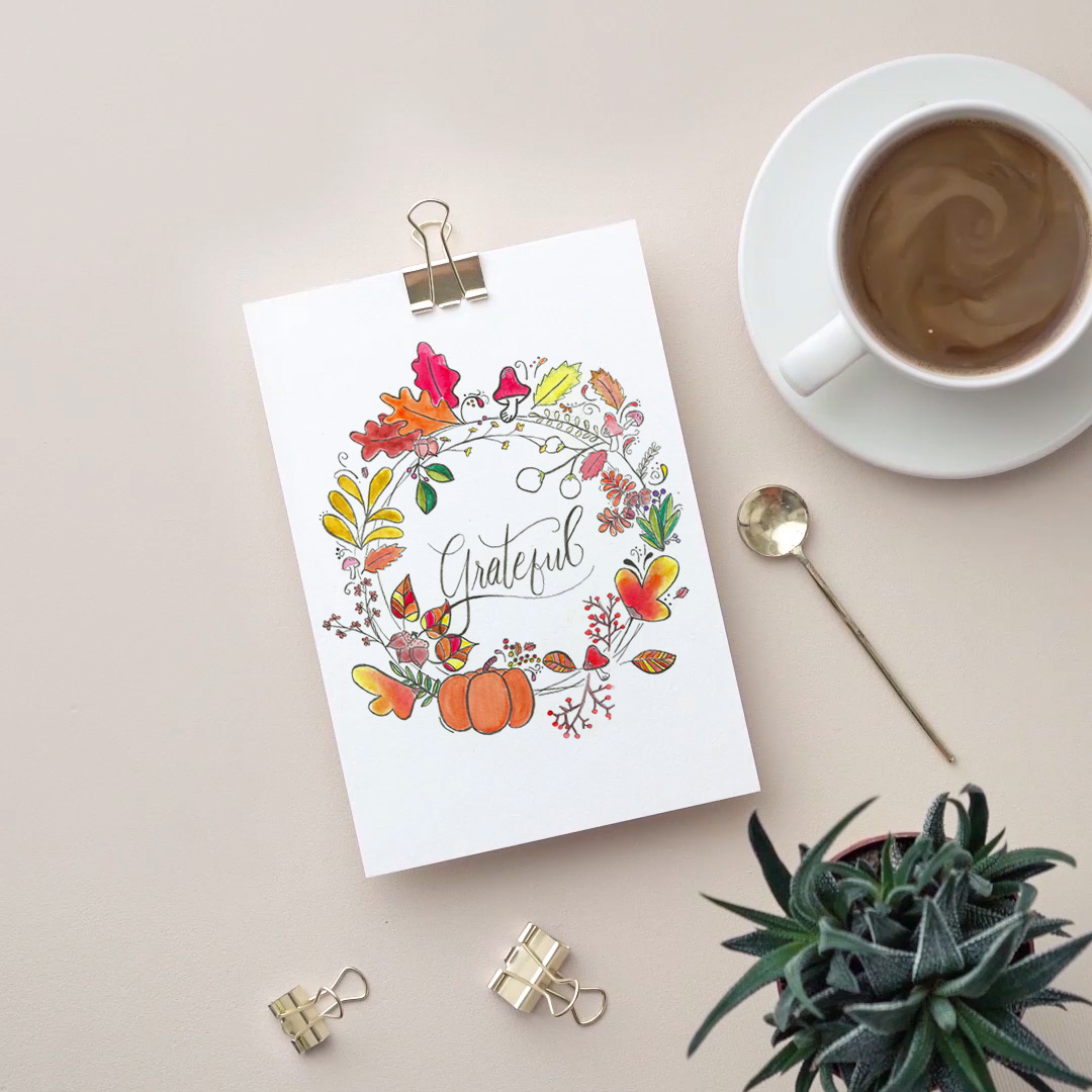 Image of watercolor print containing fall wreath and the word grateful
