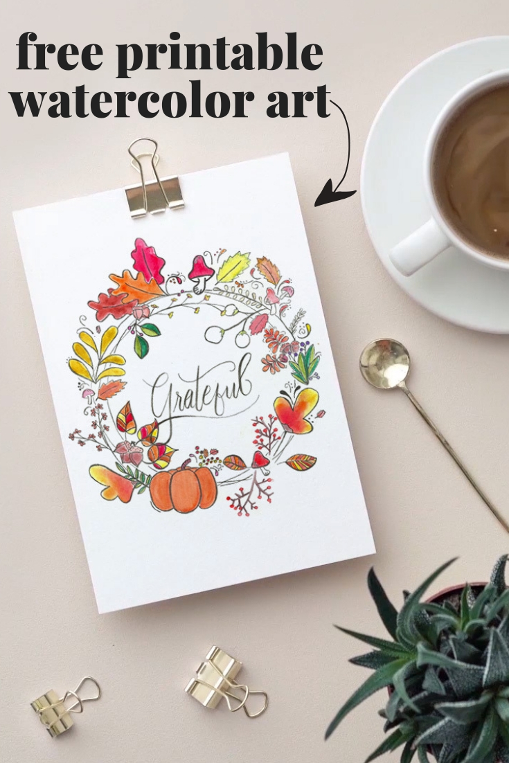 Easily decorate for fall with this free watercolor print. The fall wreath and hand-lettered Grateful in the center is gorgeous!!