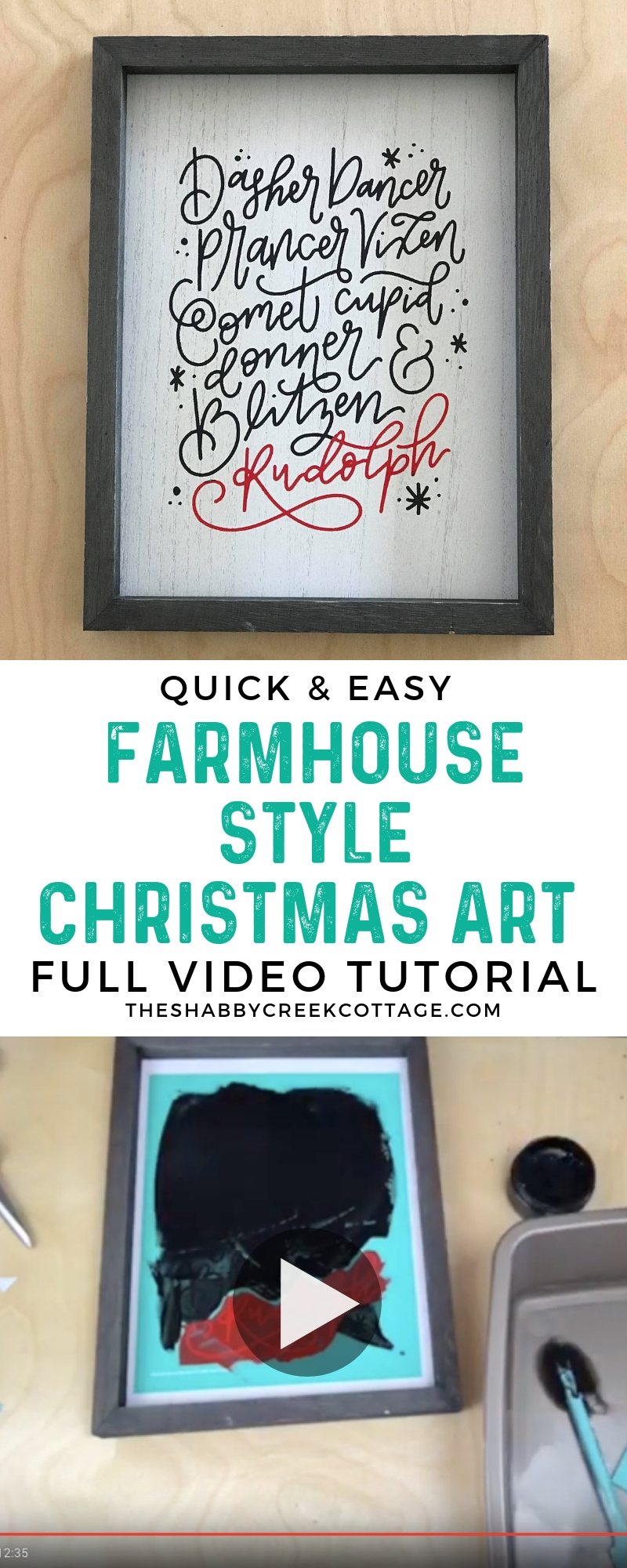 farmhouse style Christmas art using chalk couture