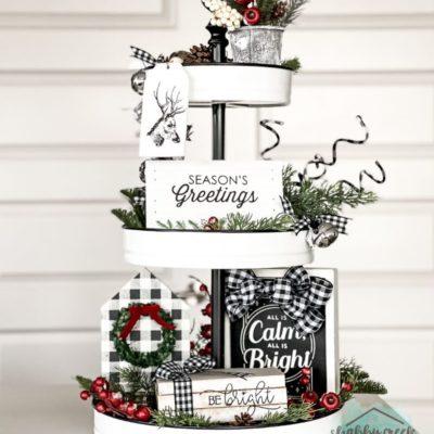 Buffalo Plaid Christmas Tiered Tray Ideas